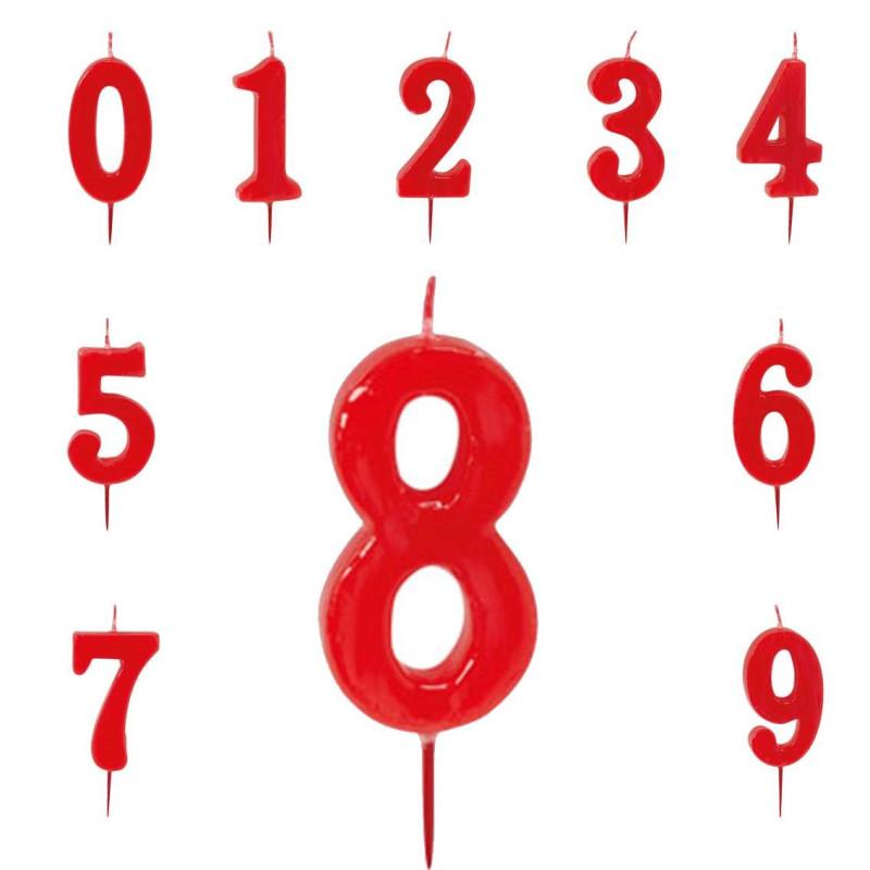 Velas de 6 cm de número rojo para la tarta