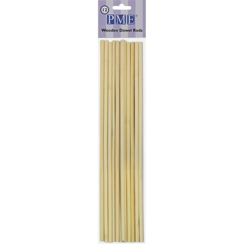 12 bâtons tiges DOWEL en bois PME