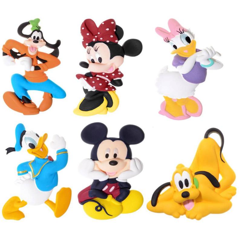 6 Figurines 2D en sucre de Mickey et ses amis