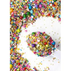 Sprinkles mezcla verde esmeralda, blanco, plata Sweetapolita 100g