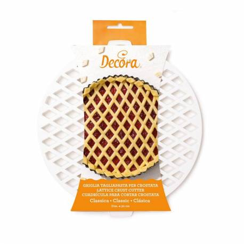 Round tart dough cutter 30 cm diamond-shaped crisscrosses