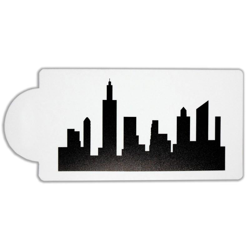 Pochoir Silhouette ville immeubles et grattes ciel