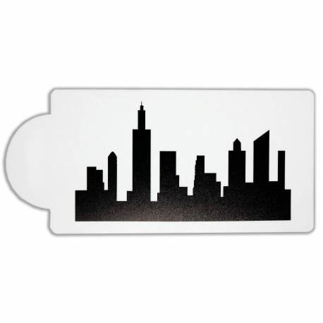 Stencil Silhouette city buildings and skyscrapers
