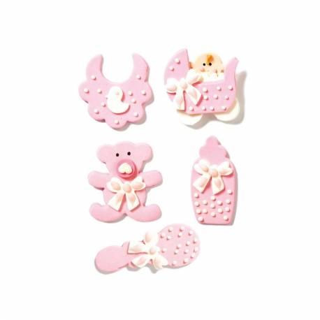 5 sugar decorations baby girl