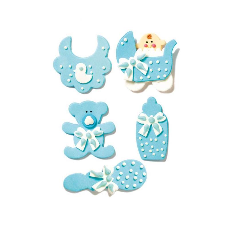 5 décorations en sucre bébé garçon