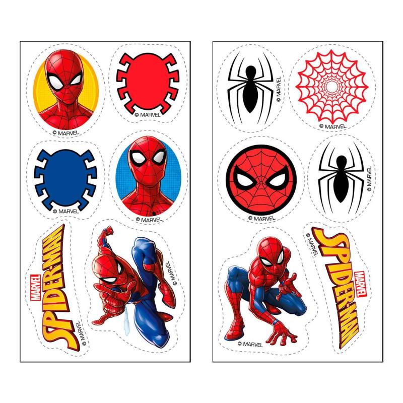 12 décorations Spiderman sur feuilles comestibles