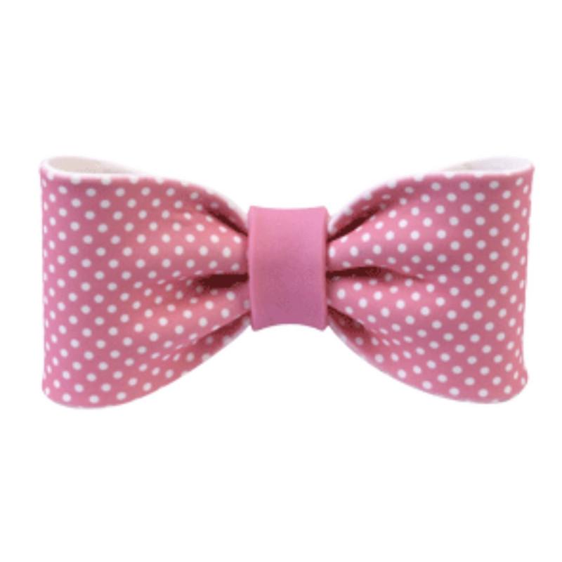 Pink sugar knot with polka dots 10 cm