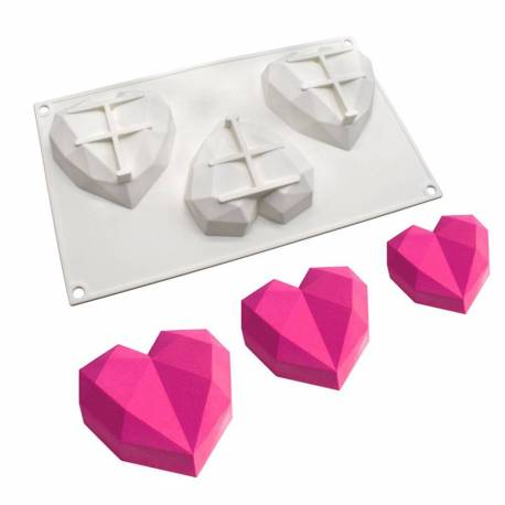 Cooking mould 3 hearts origami