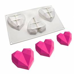 Moule cuisson 3 coeurs origami