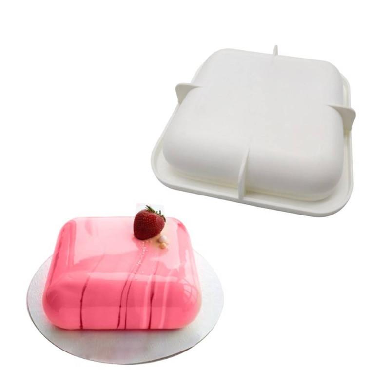 Moule à gâteau carré angles arrondis en silicone -16cm