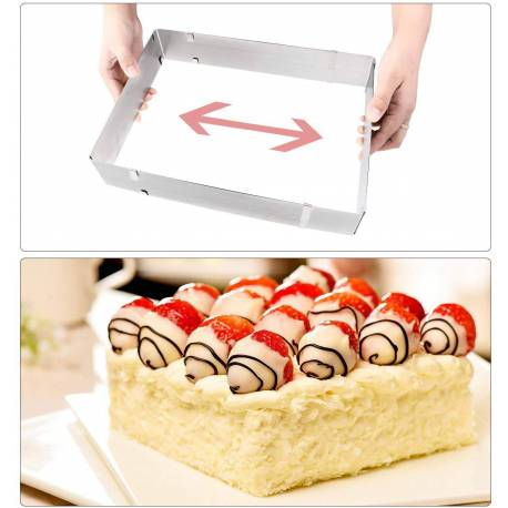 Expandable rectangular pastry frame