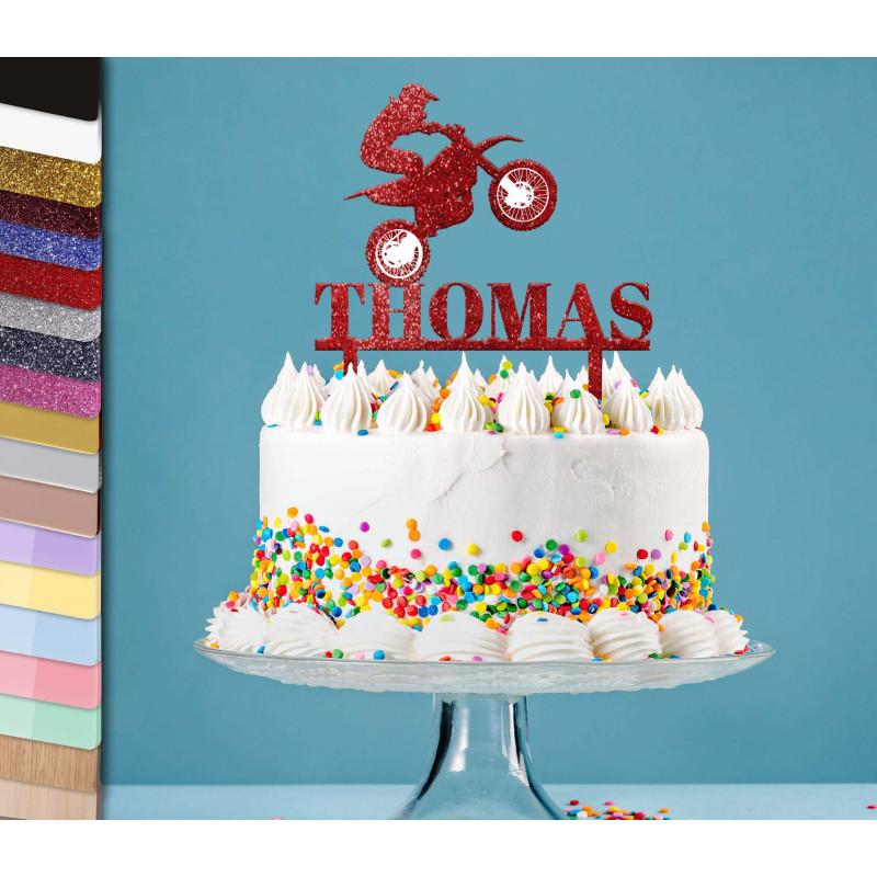Topper gâteau personnalisé moto cross