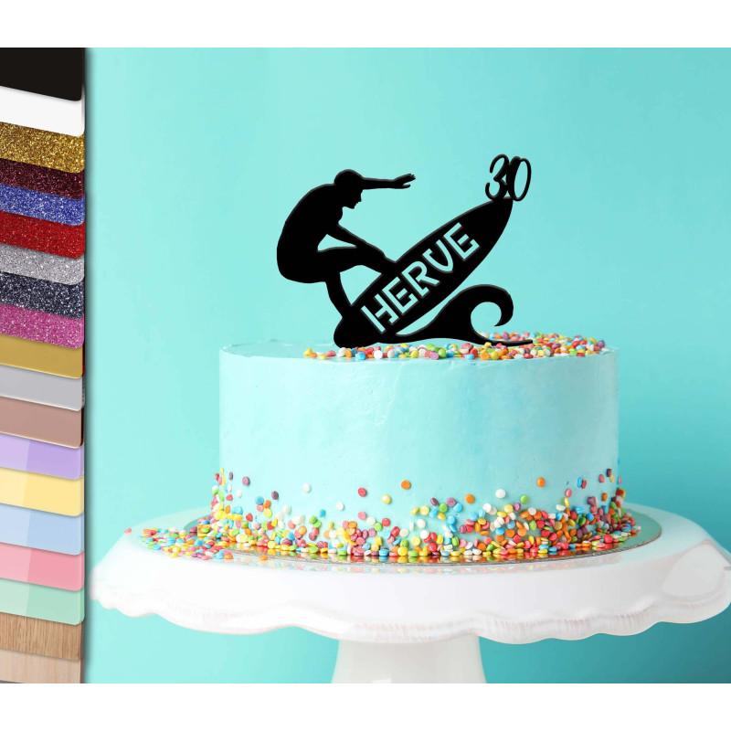Topper tarta personalizada de surf