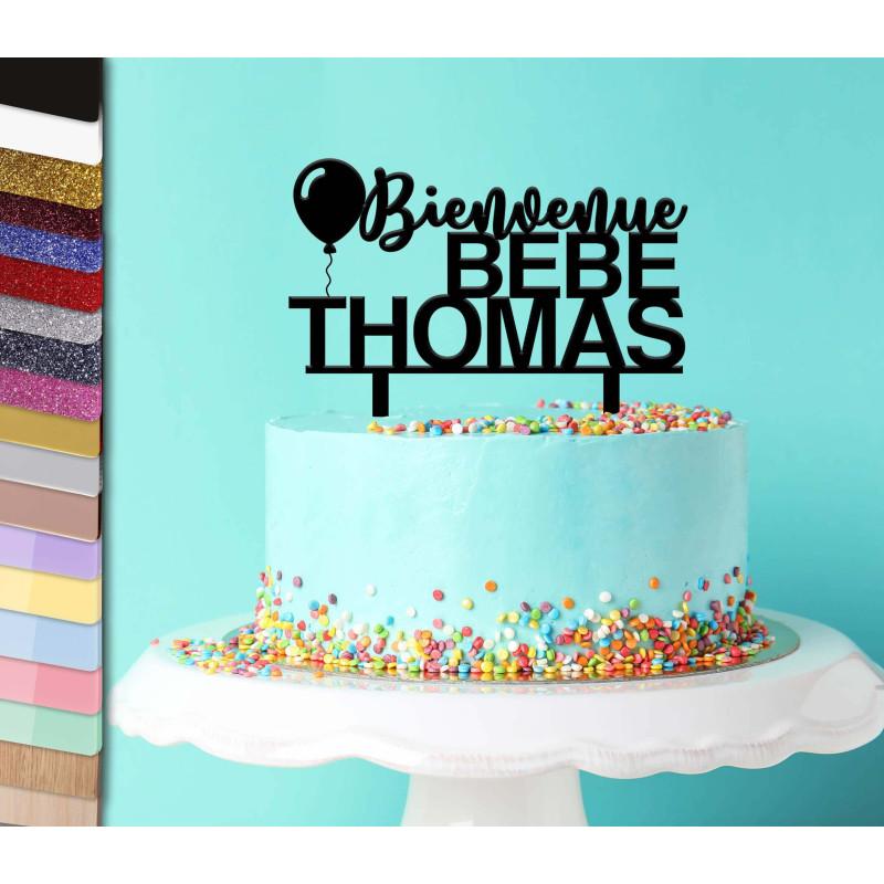 Topper tarta personalizada de bienvenida al nacimiento del bebé