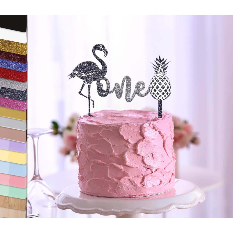 Topper tarta personalizada rosa flamenca 1 año