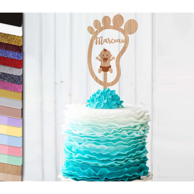 Topper gâteau personnalisé bébé petit pied