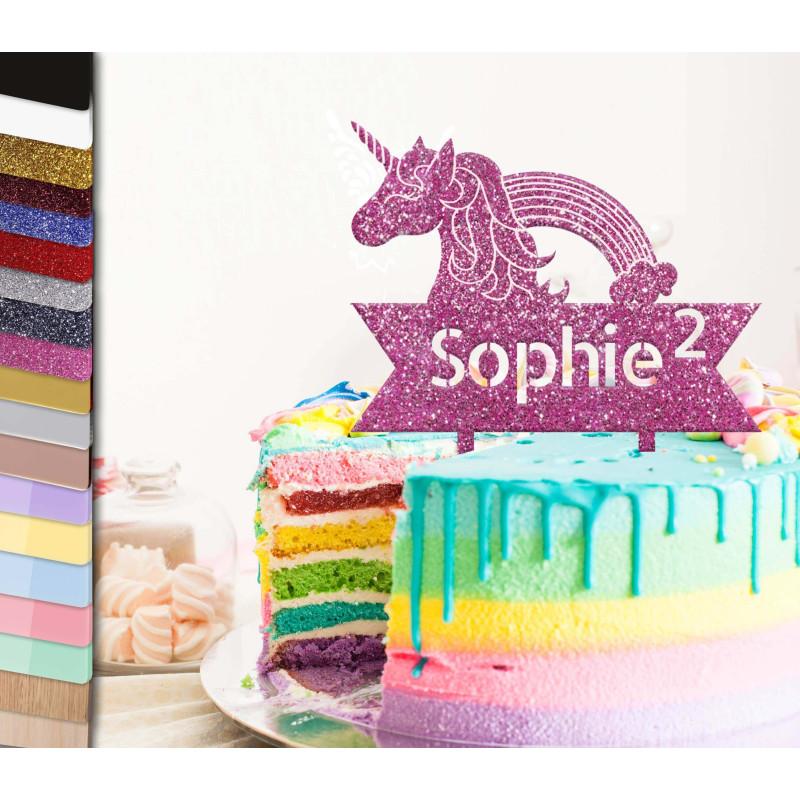 Topper tarta y pancarta personalizada de Unicornio