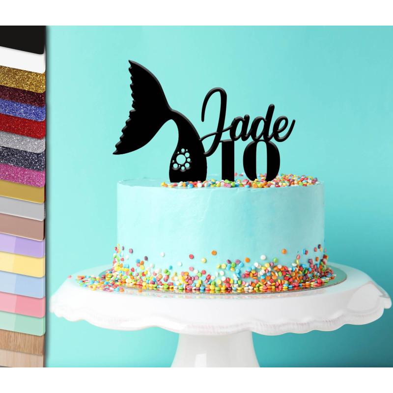 Topper gâteau personnalisé queue de sirène