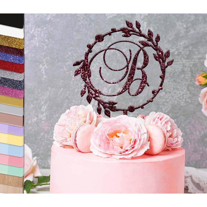 Topper pastel personalizado Inicial círculo de laurel barroco