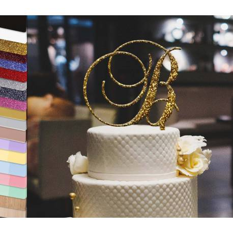 Topper tarta personalizada 1 Sólo la inicial barroca