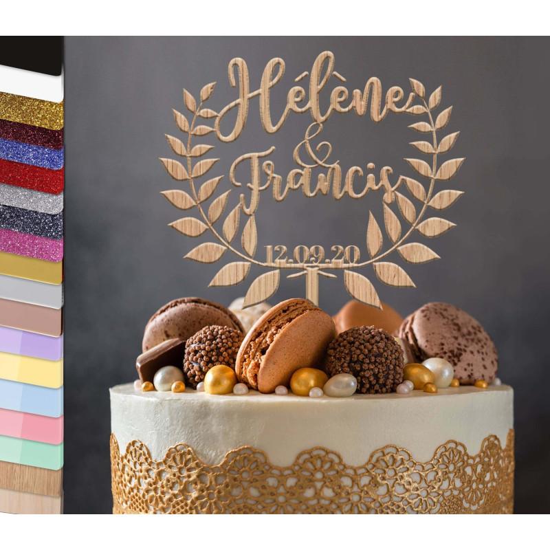 Topper una corona de laurel personalizada para el pastel de bodas