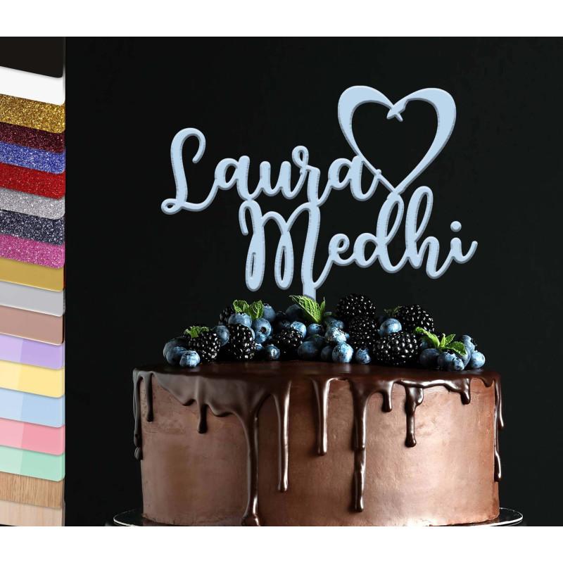 Topper tarta personalizada Tarta de bodas nombres de pila corazón vinculado