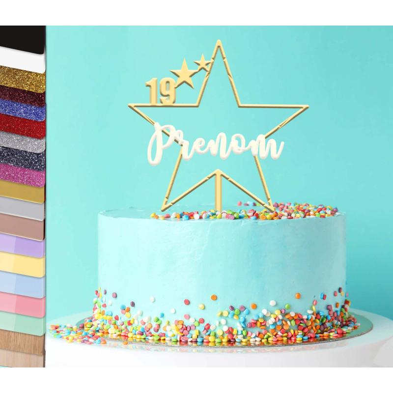 Topper pastel personalizado Nombre de la gran estrella
