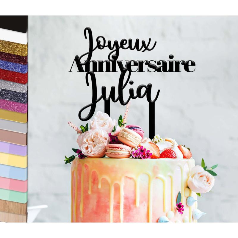 Topper gâteau personnalisé anniversaire 2 styles d'écritures