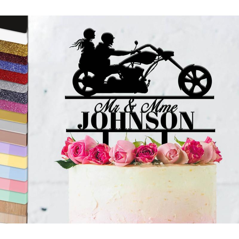 Topper pastel de boda personalizado Moto helicóptero