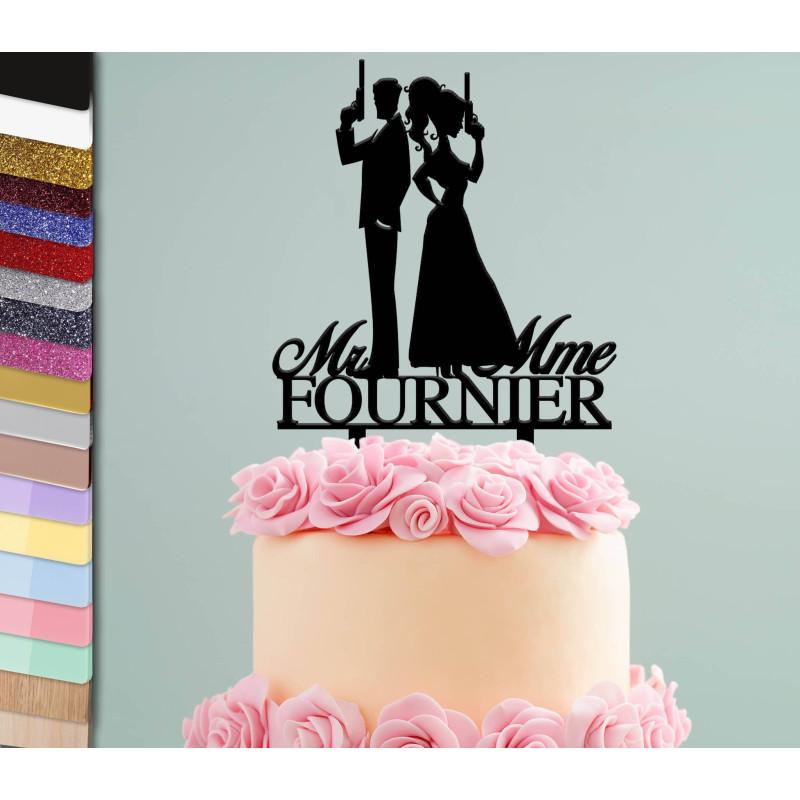 Topper gâteau personnalisé mariage James Bond