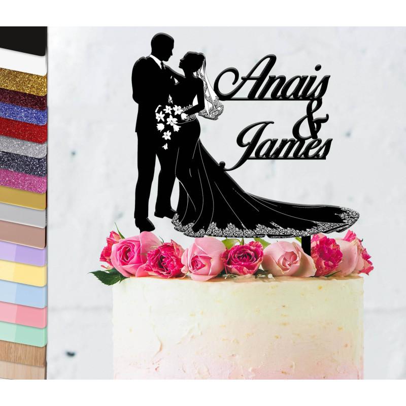Topper pastel personalizado Boda y vestido sensacional