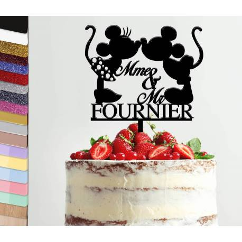 Topper gâteau personnalisé mariage Mickey et Minnie