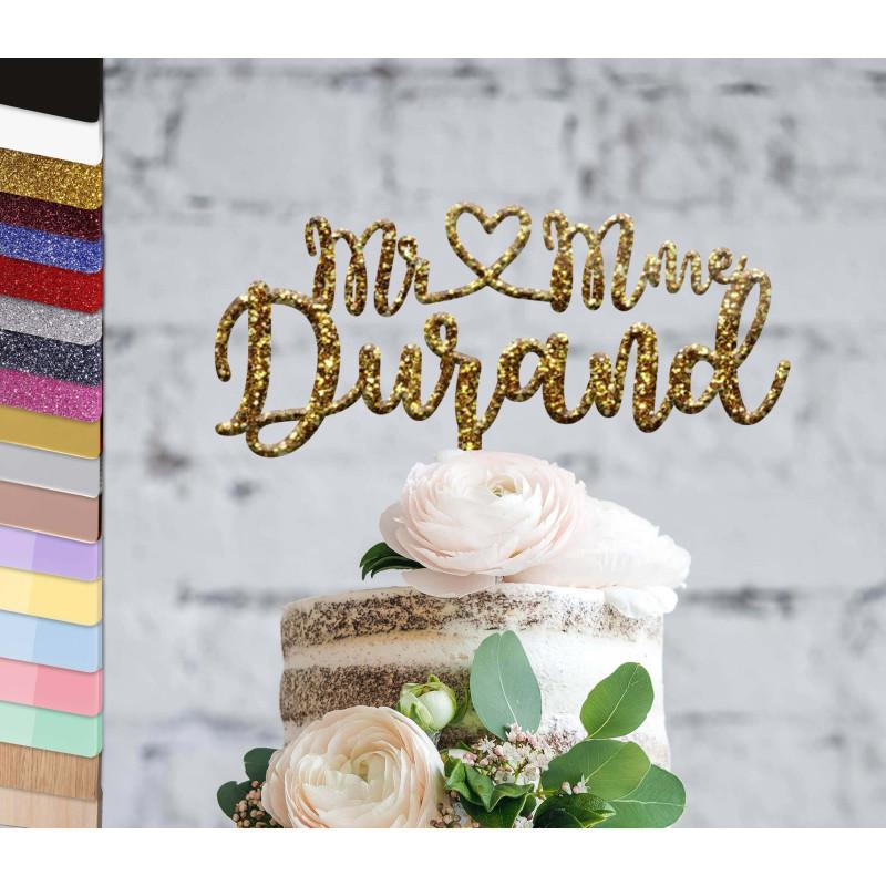 Topper pastel de bodas personalizado con escritura original