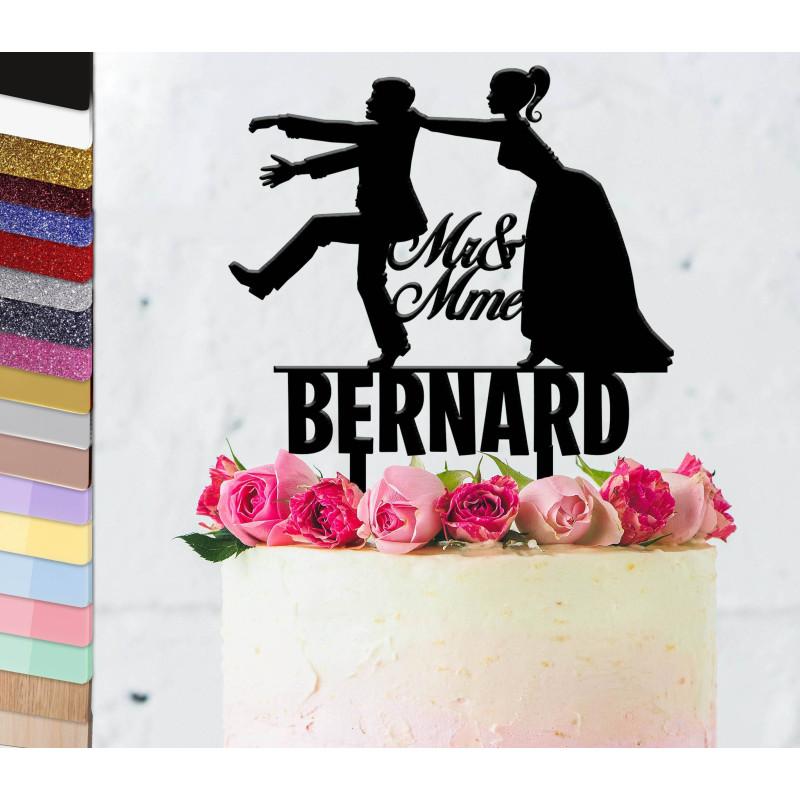 Topper gâteau personnalisé mariage Viens-ici toi