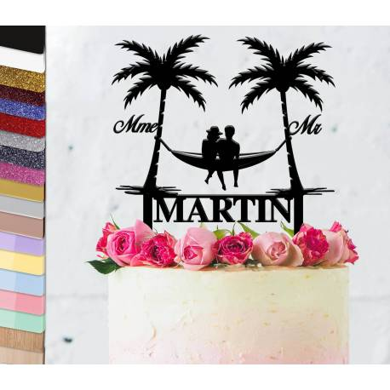 Topper gâteau personnalisé mariage Voyage sous les palmiers