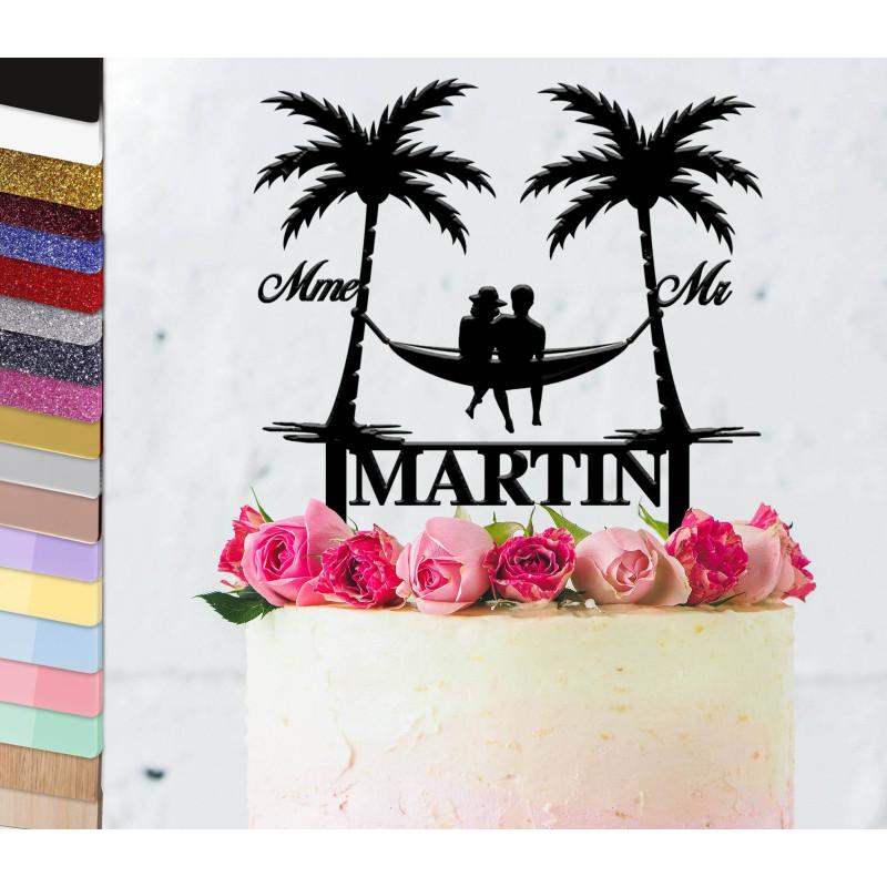 Topper pastel de boda personalizado Viaje bajo las palmeras