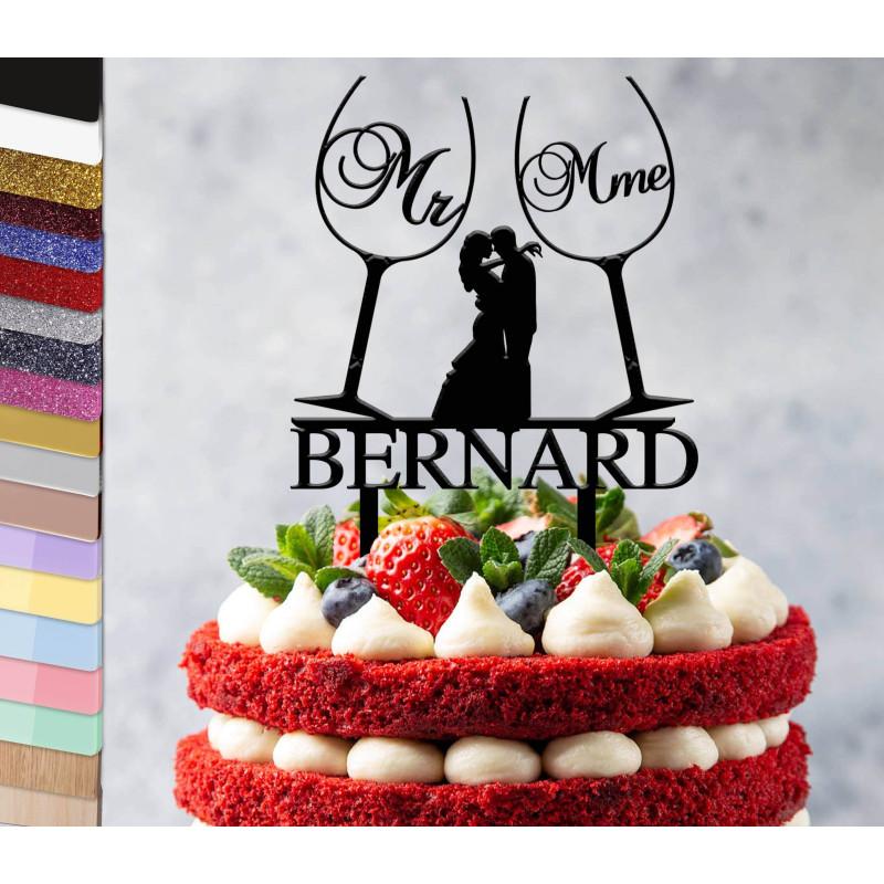 Topper gâteau personnalisé mariage Verres de vin