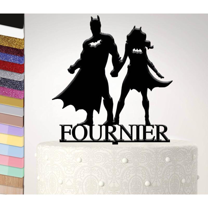 Topper pastel de boda personalizado de batman