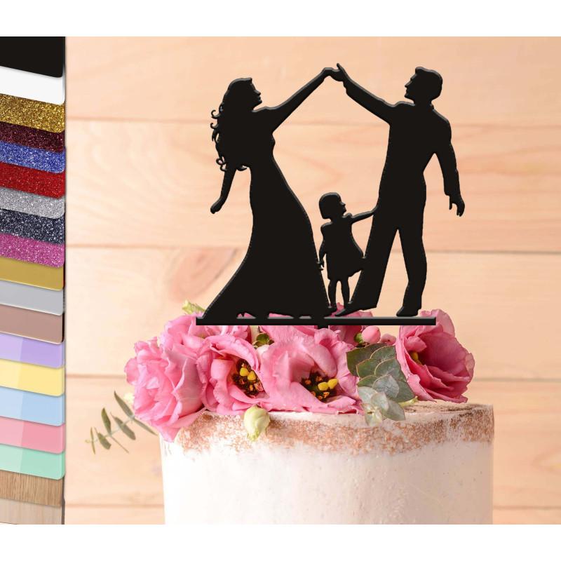 Topper gâteau personnalisé mariage couple avec une fille