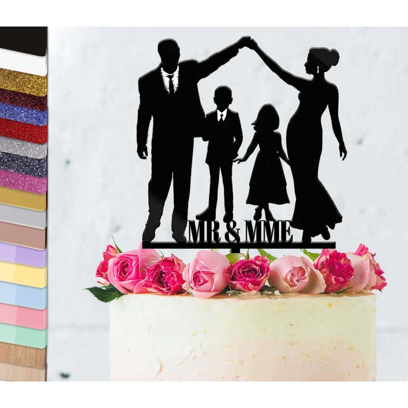 Topper pastel de bodas personalizado de la pareja con 2 niños