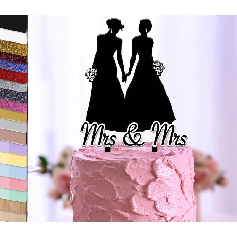 Topper pastel personalizado para la boda de una pareja de lesbianas