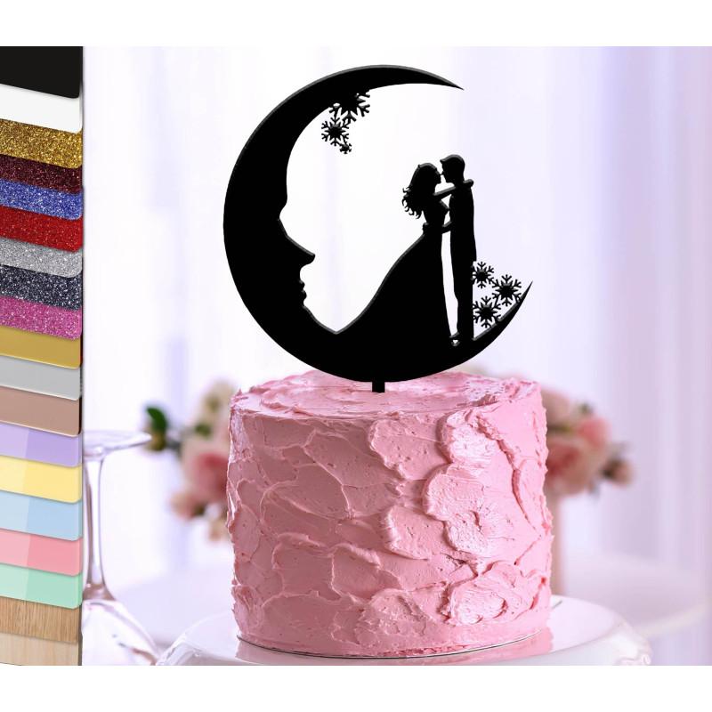 Topper gâteau personnalisé mariage couple sur la lune