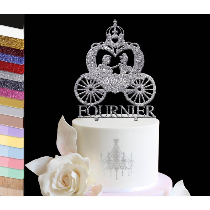 Topper gâteau personnalisé mariage Carrosse princesse