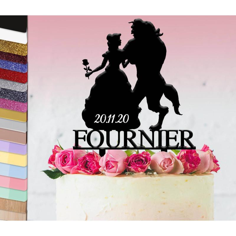 Topper gâteau personnalisé mariage la Belle et la bête