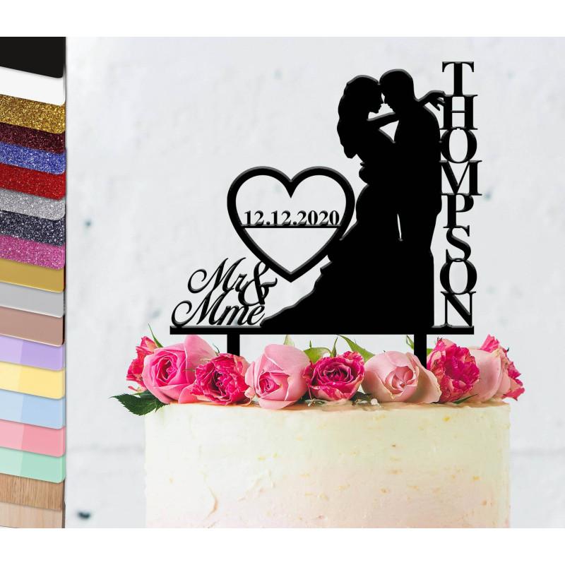 Topper gâteau personnalisé mariage couple vertical