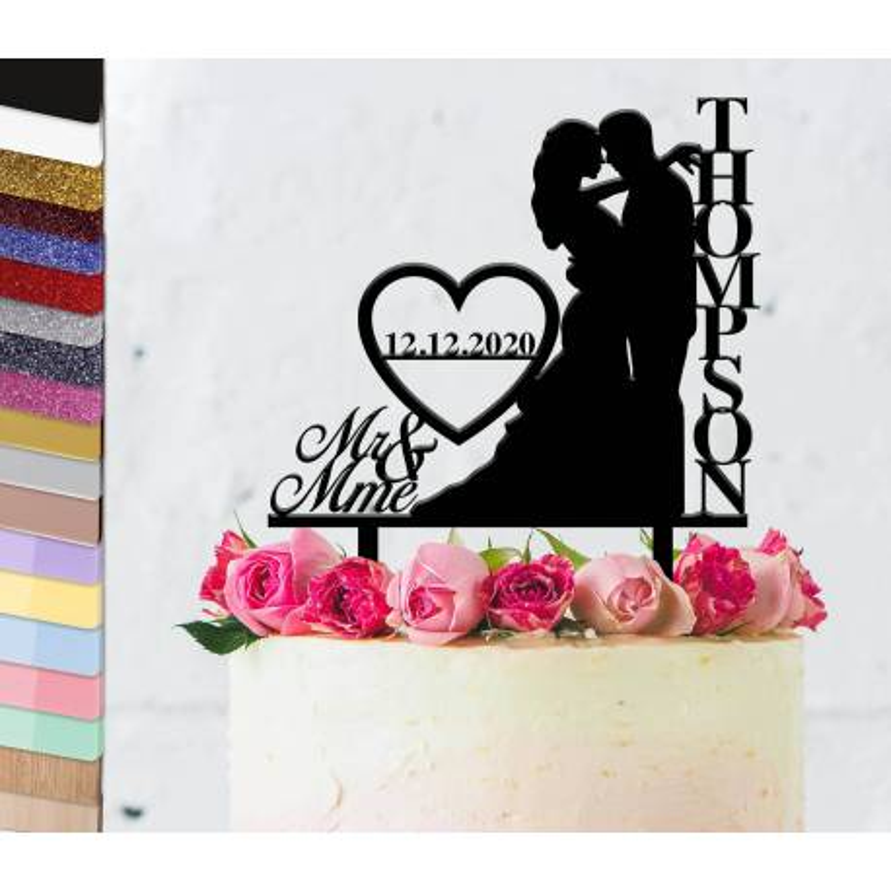 Topper pastel de bodas personalizado pareja vertical de bodas