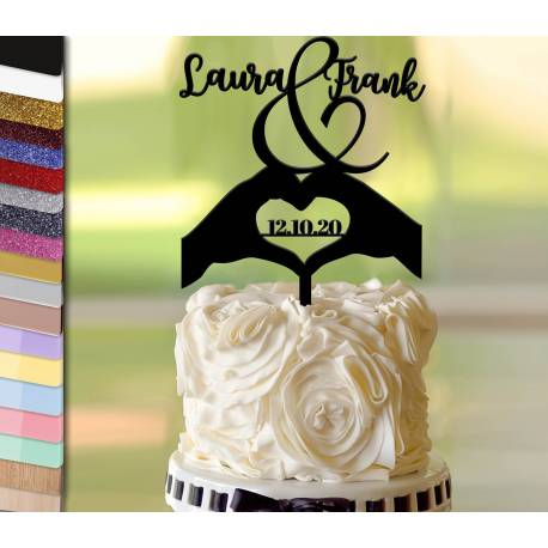 Topper gâteau personnalisé mariage mains en coeur