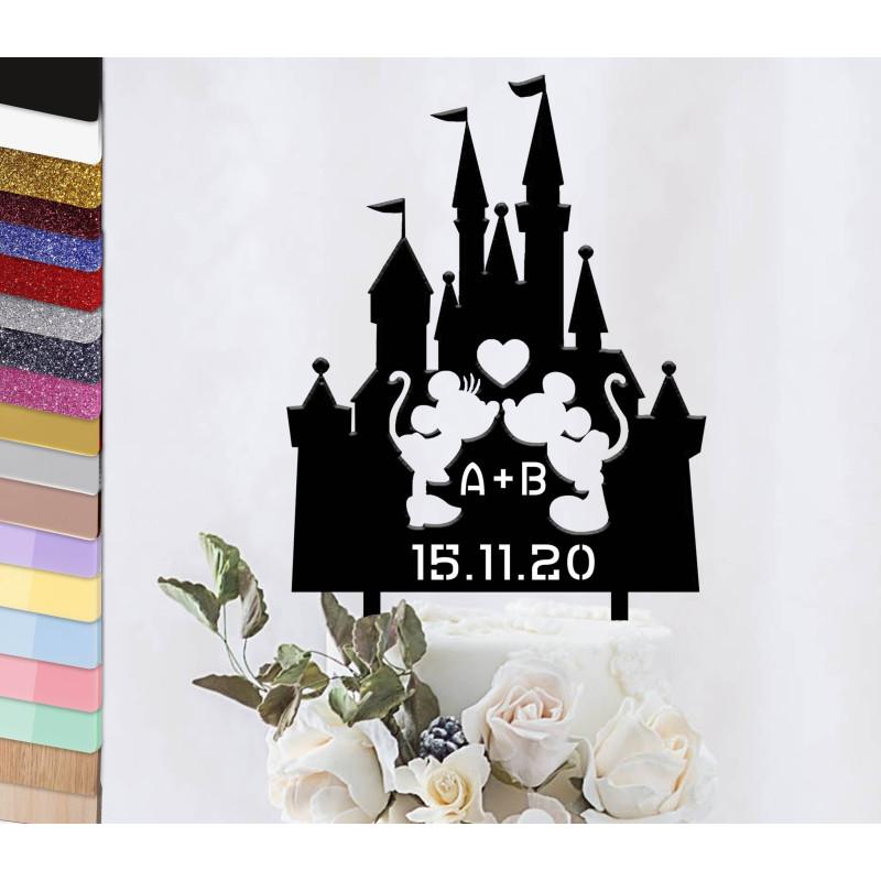 Topper el pastel de boda personalizado de Chateau Mickey y Minnie