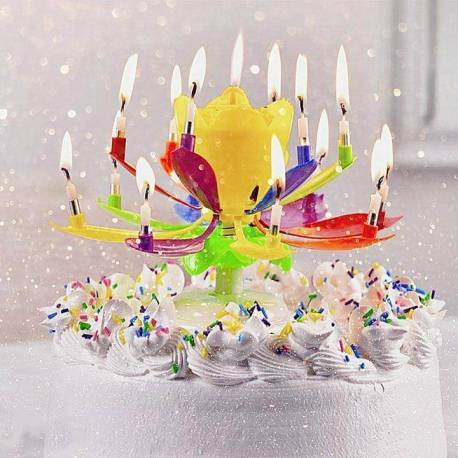 Multicoloured magic rotating flower candle