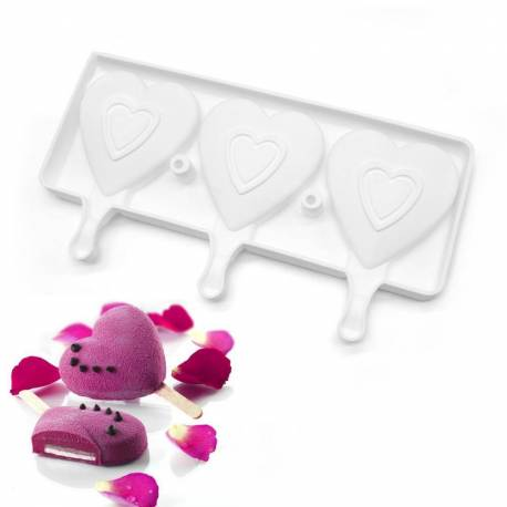 Popsicle mold, lollipop cake and ice cream heart shape
